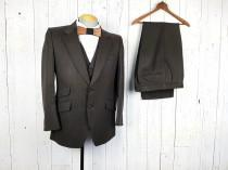 wedding photo - Vintage 50s Savile Row Three Piece Suit Brown Striped 40R 40 Regular Jacket Waistcoat Vest 33x29 Flat Front Trousers Unique Wedding Wear