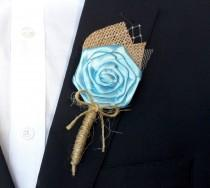 wedding photo - Turquoise Wedding Boutonniere , Burlap Wedding Boutonniere , Rustic Turquoise Boutonniere