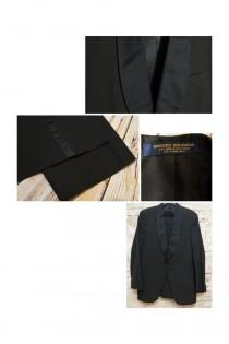 wedding photo - Vintage Elegant Brooks Brothers Shawl Collar Black Full Tuxedo Suit 40L Coat Jacket and Pants