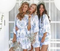 wedding photo - Bridesmaid Robes, Bespoke Kimono Robe, Hydrangea Blue, Code: P053 (B)
