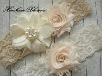 wedding photo - IVORY BEIGE Bridal Garter Set - Ivory Keepsake and Toss Wedding Garters - Chiffon Flower Rhinestone Garter - Vintage Lace Garter - Garder