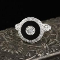 wedding photo - Art Deco Inspired 18K White Gold Onyx & Diamond Ring