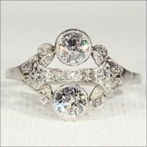 wedding photo - Superb Vintage Art Deco Diamond and Platinum Ring, 1.15ctw