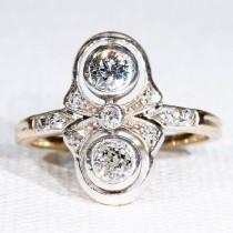 wedding photo - Antique Edwardian Double Diamond Ring 15k Gold Silver Set