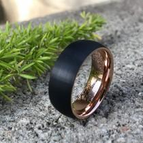 wedding photo - 8mm Tungsten Wedding Band, Two Tone Black and Rose Gold Tungsten Ring Personalized Tungsten Ring Comfort Fit Ring CQTCR653
