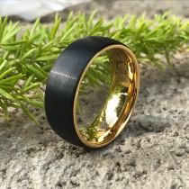 wedding photo - 8mm Tungsten Wedding Band, Two Tone Black and Gold Plated Tungsten Ring Personalized Tungsten Ring Comfort Fit Ring CQTCR654