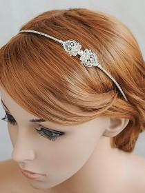 wedding photo - Bridal Headband, Wedding Headband, Crystal Filigree Headband, Vintage Style Wedding Hairband, Bridal Hairpiece, Hair Jewelry, GRACE