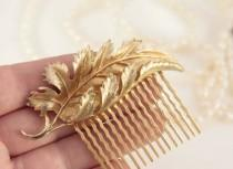wedding photo - Gold Leaf Hair Comb Vintage Bridal Comb Gold Wedding Hair Piece Something Old Gift For Bride From Groom Mother Sister Friend Maid of Honour