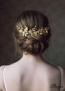 wedding photo - Wedding Headpiece, Gold Leaf Headpiece, Woodland, Grecian Hairpiece, Bridal Back Headpiece,Wedding Hair Vine,Leaf Halo,Bridal Crown- ANTHEIA