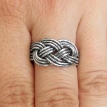 wedding photo - Love Knot Ring - Promise Ring - Knotted Ring - Double Knot Ring - Celtic Knot Ring - Nordic Ring - Plain Silver Ring - Gift for Boyfriend