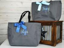 wedding photo - Bridesmaid Gift, Monogrammed Tote Bags, Set of 1,2,3,4,5,6,7,8,9 Personalized Bridesmaids Bags, Wedding Tote Bag, Maid Of Honor Gift (ESS1)
