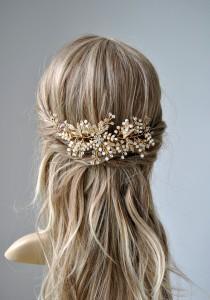 wedding photo - Bridal Pearl Hair vine Comb ROSA , Gold Silver Wedding Hair Comb vine, Hair Chain Bridal hair jewellery, headpiece 1920s Bridal Headpiece