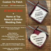 """wedding photo - CUSTOM TIE PATCH - Personalized Message, Father of the Bride, Father of the Groom, Little Red Heart Option, 2.5"""" Square or 2.25"""" Heart Shape"""