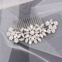 wedding photo - Crystal Bridal Hair Piece Rhinestone Bridal Hair Comb Silver Wedding Bridal Hair Accessories Crystal Bridal Headpiece Bridal Veil Comb Clip