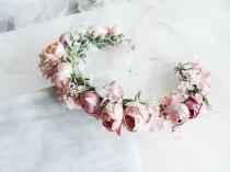 wedding photo - Flower Girl Crown, Rose Gold Flower Crown, Flower Headpiece, Floral Headband, Blush Pink Head Wreath, Wedding flower Crown, Bridal Crown