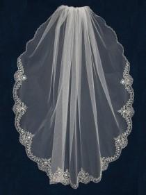 """wedding photo - Wedding Veil with Silver Beaded Embroidery Lace Design Scallop 45"""" Long Knee Length Bridal Veil- Free Tulle Swatches"""