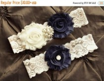 wedding photo - ON SALE Navy Wedding Garter Set, Navy Bridal Garter, Ivory Lace Garter, Garter Set, Navy  Ivory  Garter Set, Wedding Garter Belt
