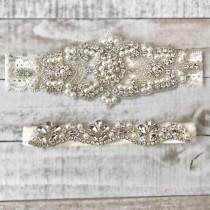 wedding photo - Elegent antique ivory Wedding Garter Set NO SLIP grip vintage rhinestones bridal garter B08S-EB06S
