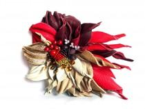 wedding photo - Leather flower  brooch Leather jewelry 3rd anniversary gift