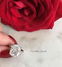 wedding photo - Lily Ring. 925 Sterling Silver and 6 Carat Cubic Zirconia Stone. High Quality Ring. Bridal Ring. Cushion Cut Ring. Big Diamond CZ Ring.