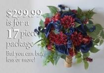 wedding photo - Wedding Bouquet, Bridal Bouquet, Bridesmaid Bouquet, Silk Flower Bouquet, Wedding Flower, burgundy, wine, blue, navy blue, Lily of Angeles