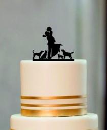 wedding photo - Silhouette Wedding Cake Topper, Bride and Groom Cake topper with a dog or cat, Rustic Wedding Silhouette With a dog or cat, Custom Topper