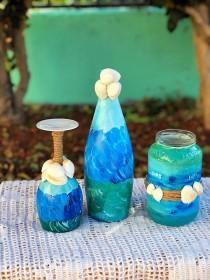 wedding photo - beach theme painted wine bottle, Aqua blue  gold painted wine bottle, candle holder, blue and gold beach theme bottle, sea shells blue gold