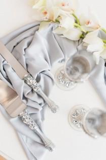 wedding photo - Wedding cake server set with Glasses Wedding cutting set Wedding glasses Wedding flutes Champagne glasses Cake cutter Silver Cake server