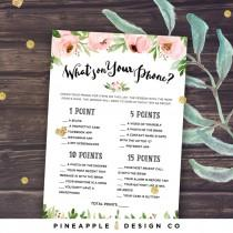 wedding photo - What's on your Phone Game Bridal Shower Game, Printable Bridal Shower Games, Floral, Pink Peonies Instant Download