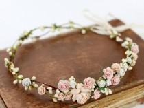 wedding photo - Blush Flower Crown Wedding Salmon Floral Crown Floral Headband Bridal Crown Crown Apricot Headpiece Coral Pink Flower Girl Halo Peach Bloom
