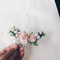 wedding photo - Hair comb Pale pink and white and dusty rose and grenery headpiece, floral hair piece, pale pink hair clip, bridal hair piece, blush pink co