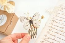 wedding photo - ivory wedding comb butterfly bridal hair comb pearl ivory bridal hair accessory bridal butterfly jewelry butterfly comb gold flower