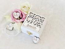 wedding photo - Personalised Wedding Ring Box - Luxury Double Wedding Ring Bearer Box - Custom Made - Mr & Mrs Design