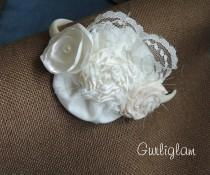 wedding photo - Ivory Flower girl headband, Vintage headband, Baby girl headband