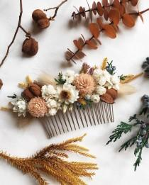 wedding photo - Hair Comb // Autumn Blush // Dried Flowers