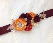 wedding photo - Fall Wedding Dress Sash Belt, Autumn Floral Bridal Sash Belt, Fall Rustic Flower Sash with Rhinestones & Crystals and Lace Applique - BB0159