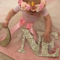 wedding photo - ONE Sign First Birthday Sign in Glitter - Wooden ONE Letters First Birthday Princess Birthday Decor in Glitter One Letters ( Item - LON100 )