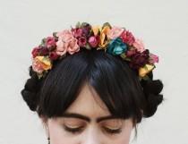 wedding photo - Frida Flower Crown, Mexican Flower Headband, Fiesta, ColorfulFloral Crown, Flower Headpiece, Festival Clothing, Bohemian, Kahlo,Free People