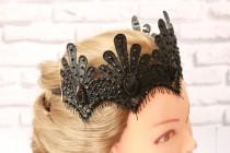 wedding photo - Clothing gift Black Crown  Queen Lace Crown sexy festive accessory Halloween Costume Headpiece Swan Fascinator Mistress Black fascinator