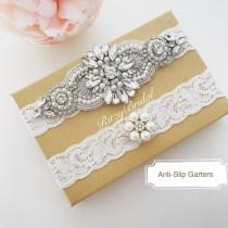 wedding photo - Wedding Garter, Bridal Garter, Wedding Garter in Silver, Rhinestone garters, Wedding Garter Belt, Garters for wedding, crystal pearl garter