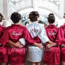wedding photo - Satin Robes; Bride; Bridesmaids