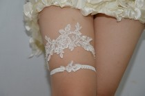 wedding photo - white bridal garter, white lace garter, wedding garter, bride garter,, vintage garter,