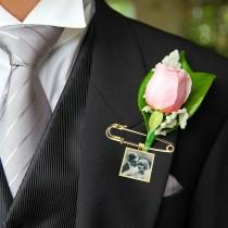 wedding photo - Photo Lapel Pin- Lapel Pin with Picture- Boutonniere Charm- Boutonniere Photo Charm- Bouquet Photo Charm- Groom Memorial Charm Pin