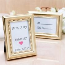 wedding photo - #betergifts 4 x 3 inch Gold Photo Frame Place Card Holder Wedding Decoration  http://Shanghai-Beter.Taobao.com