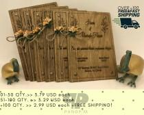 "wedding photo - Real Wood Wedding Invitation 4x6"" Laser Engraved 0 Natural Birch Wood 0.12"" Thickness with Artifical Flower + Belly Bands"
