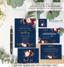 wedding photo - Navy Wedding Invitation Template, Boho Chic Wedding Invitation Suite, Floral Wedding Set, #A034, Instant Download, Editable PDF