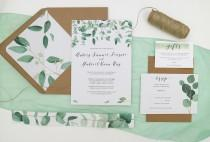 wedding photo - Green Leaf Wedding Invitation Set // Printed Wedding Invitations with Liner // Eucalyptus // Watercolour Leaves // 100% Recycled Invites