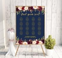 wedding photo - Navy Gold Wedding Seating Chart Template, Printable Burgundy Floral Seating Plan Poster,  Large Poster 30 Table, Instant Download #109