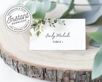 wedding photo - Watercolor Greenery Printable Wedding Place Cards w/ Eucalyptus Leaves (Flat and Tent Folded) • INSTANT DOWNLOAD • Editable Template #027