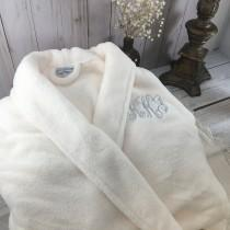 wedding photo - Monogrammed Plush Robe, His and Her Gifts, Personalized Robes